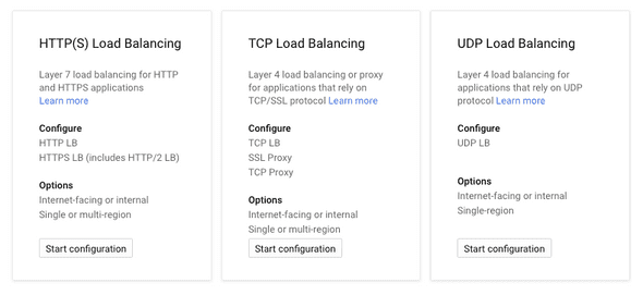 GCP Load balancing options